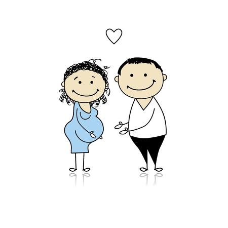månader: Happy parents waiting for baby, pregnancy Illustration