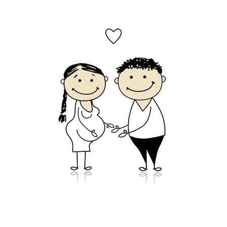 Ehefrauen: Gl�ckliche Eltern warten Baby, Schwangerschaft Illustration