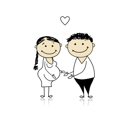 Happy parents waiting for baby, pregnancy Stock Vector - 8718087