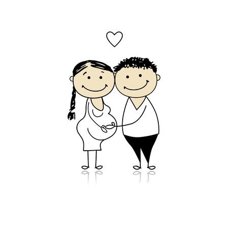 eltern und kind: Gl�ckliche Eltern warten Baby, Schwangerschaft Illustration