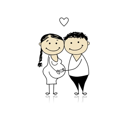 two parent family: Happy parents waiting for baby, pregnancy Illustration