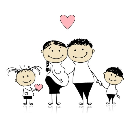 Happy parents with children waiting for newbaby, pregnancy Vector
