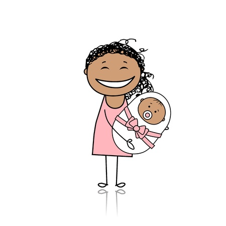 Happy mother smiling with newborn baby Stock Vector - 8718094
