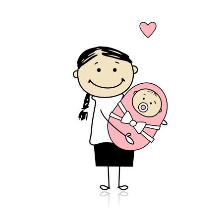 mum and daughter: Felice madre sorridente con neonato