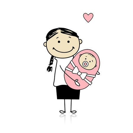 Happy mother smiling with newborn baby Stock Vector - 8718081
