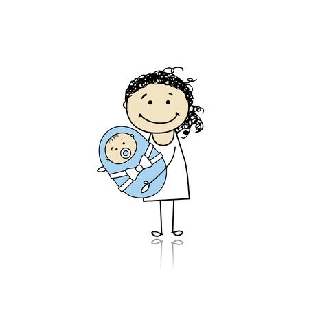 Gelukkig moeder lacht met pasgeboren baby Vector Illustratie