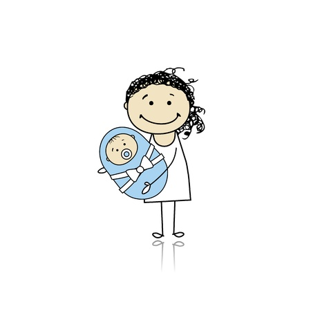Happy mother smiling with newborn baby Stock Vector - 8718090