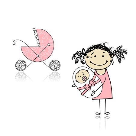 baby with mother: Mother walking with buggy, newborn baby Illustration
