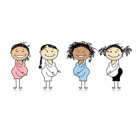 pregnant: Happy pregnant women waiting for babies Illustration