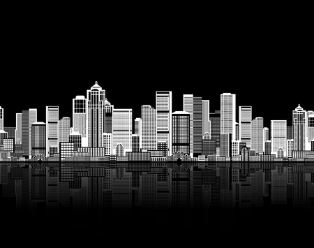 city skyline night: Cityscape seamless background for your design, urban art