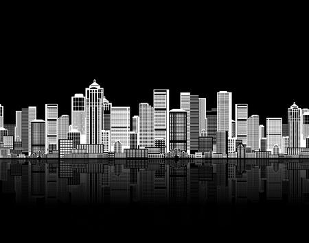 edificio industrial: Fondo transparente de paisaje urbano para su dise�o, arte urbano  Vectores