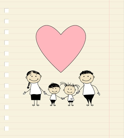 parenthood: Happy family with love, drawing sketch  Illustration