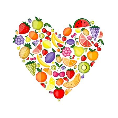 pineapples: Forma de coraz�n de fruta de energ�a para su dise�o  Vectores