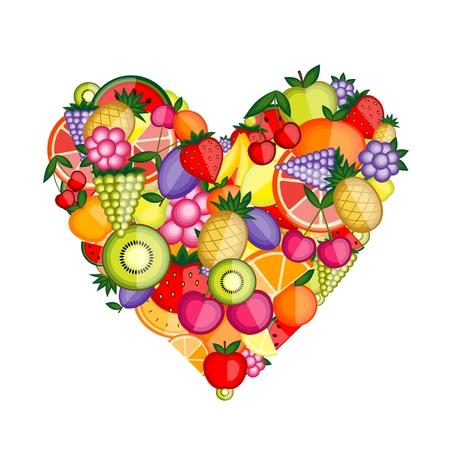 frutas tropicales: Forma de coraz�n de fruta de energ�a para su dise�o  Vectores