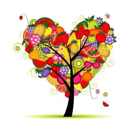 kiwi: Energy fruit tree heart shape for your design