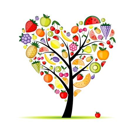 pineapple tree: Energy fruit tree heart shape for your design