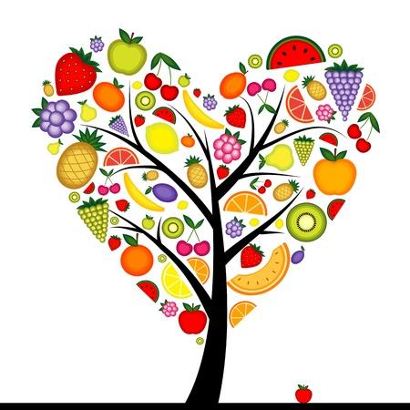 Forma de corazón para su diseño de fruticultura de energía  Ilustración de vector