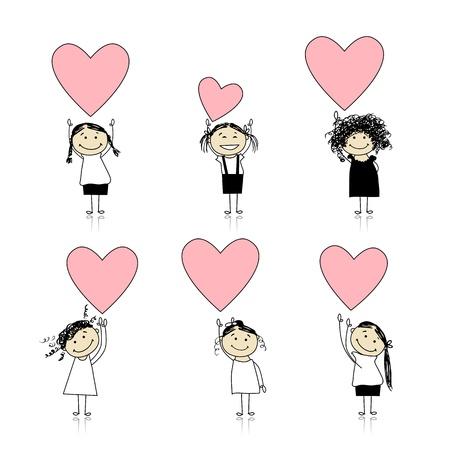 entre filles: Cute filles avec des coeurs de la Saint-Valentin pour votre conception Illustration