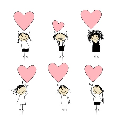 cute girl cartoon: Cute girls with valentine hearts for your design