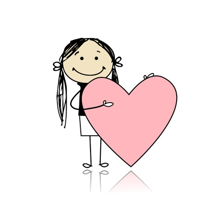 beautiful girl cartoon: Cute girl with valentine heart, place for your text