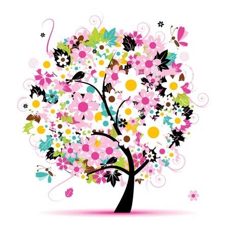 birds in tree: Albero floreale estate per il vostro disegno Vettoriali