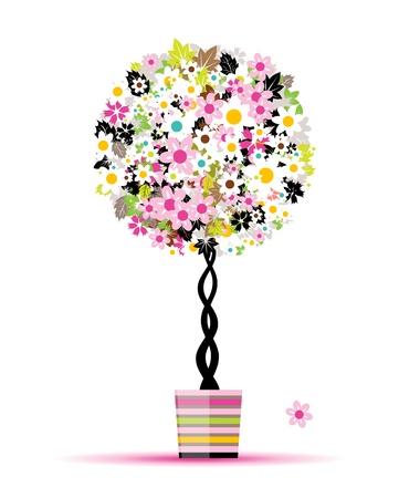 Sommer floral Baum im Pot für Ihren Entwurf