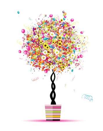 Happy holiday, funny tree with balloons  in pot for your design Vector