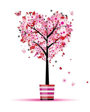 swirl backgrounds: Albero floreale di estate, a forma di cuore in pentola per il vostro disegno Vettoriali
