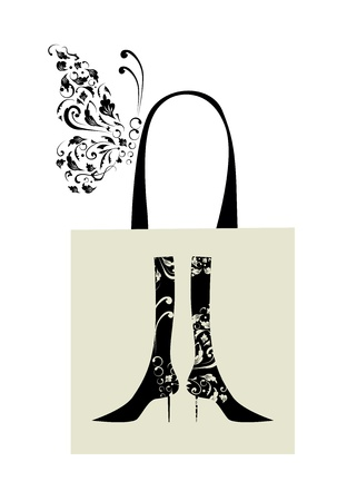 Fashion design of female boots with floral ornament, shopping bag Vector