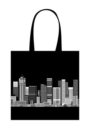 Cityscape, shopping bag design, urban art  Vector