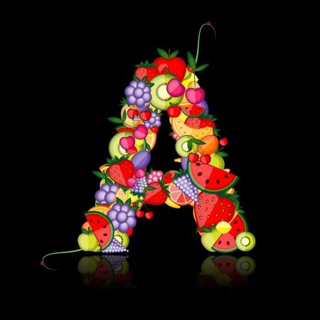 letras negras: Carta de frutas para su dise�o. Ver otros en mi Galer�a