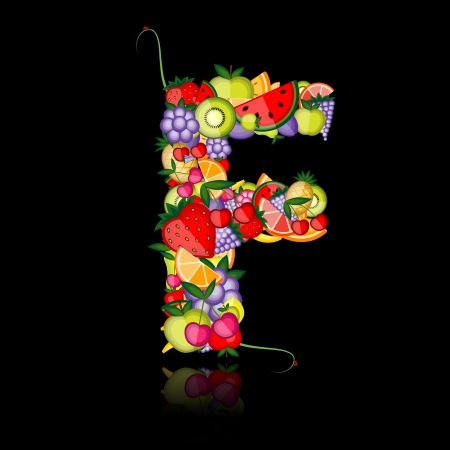 apple slice: Fruit letter for your design. See others in my gallery