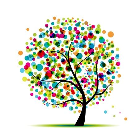 Árbol de primavera abstracta para su diseño  Ilustración de vector