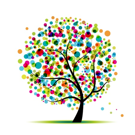 orange trees: Abstract spring tree for your design  Illustration