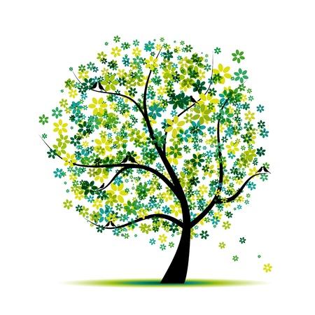 tronco: Primavera. Árbol floral y aves para su diseño