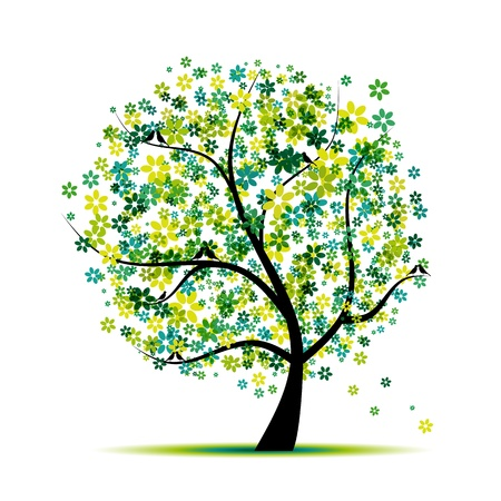 green swirl: Spring. Floral tree and birds for your design  Illustration