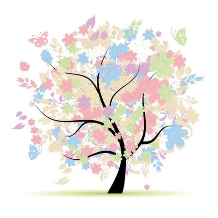 Árbol floral en colores pastel para el diseño, la primavera