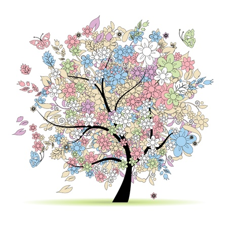 Floral tree in pastel colors for your design, spring Vector
