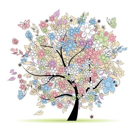 pastel colours: �rbol floral en colores pastel para el dise�o, la primavera