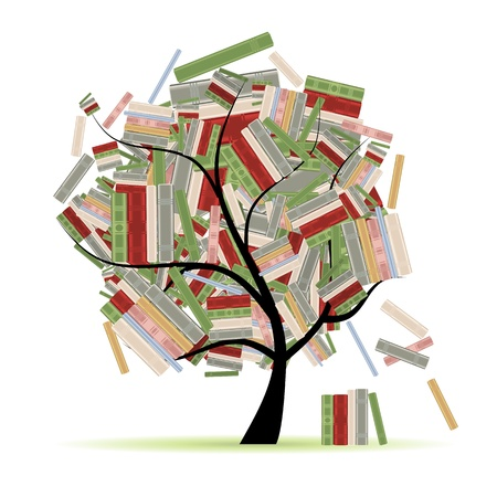 encyclopedias: Biblioteca de libros de ramas de �rboles para el dise�o Vectores