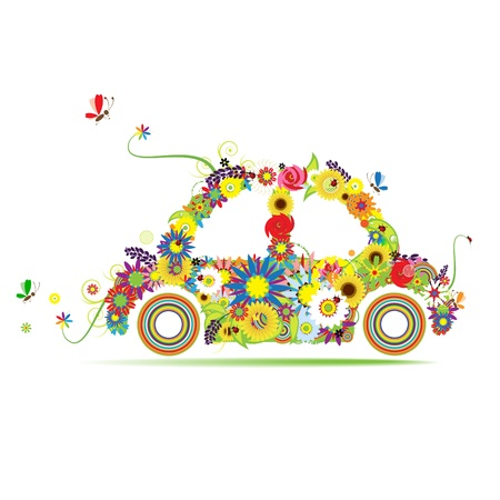 Floral car shape for your design Stock Vector - 9128657