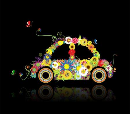 Floral car shape on black for your design Vector