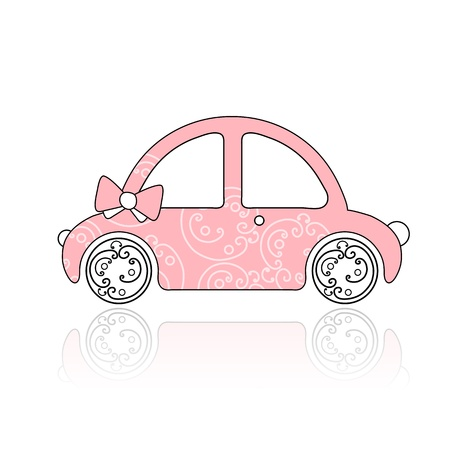 Pink female car with floral ornament for your design Vector