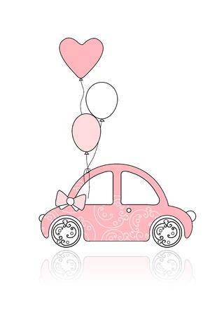 Rosa femenina coche con adorno floral y globos para su diseño Vectores