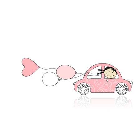 balloon woman: Smiling girl behind wheel pink car for your design Illustration