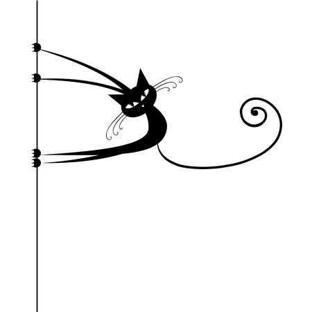 silueta de gato: Silueta gracioso gato negro para su dise�o