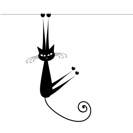 Funny cat silhouette black for your design Stock Vector - 9128524