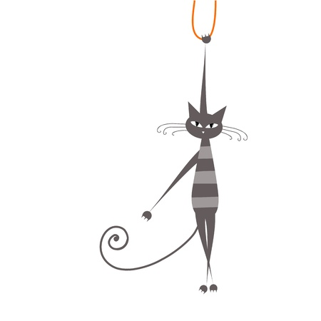 grey cat: Funny grey striped cat for your design  Illustration
