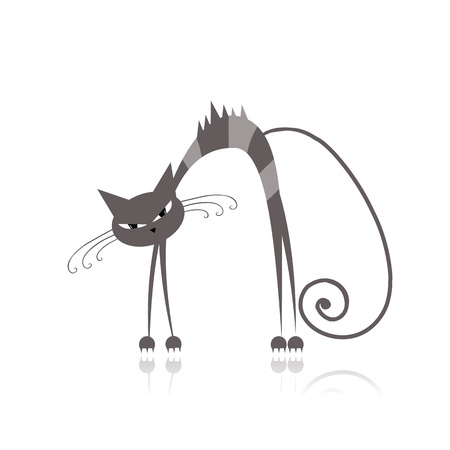 grey cat: Angry grey striped cat for your design