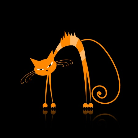 Angry orange striped cat for your design  Vector